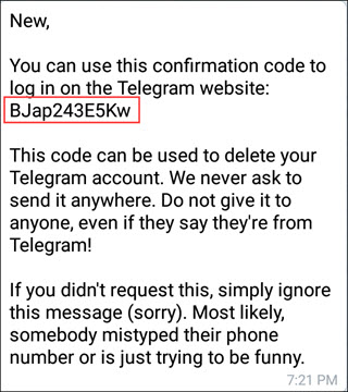 Delete Telegram  account Using Deactivation Page