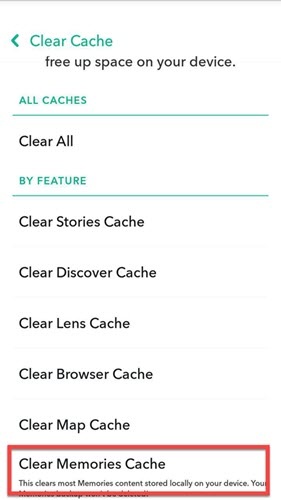 snapchat clear memories cache