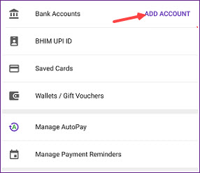 Unable to add a bank account in phonepe
