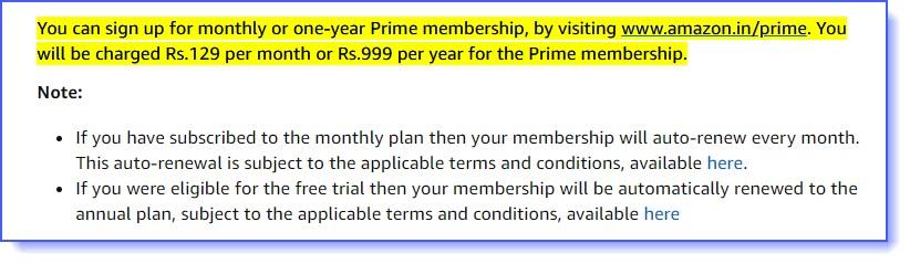Amazon Prime Subscription Type